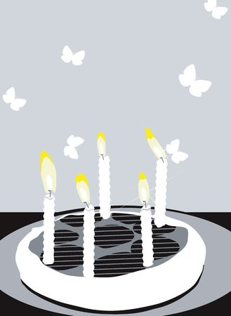 child's: Illustration of birthday cakes with candles and butterflies