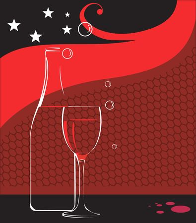 Illustration of wine glass and wine bottle with stars  illustration