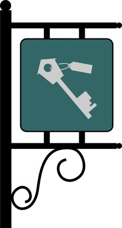 Illustration of a key in a signboard Stock Illustration - 2892932