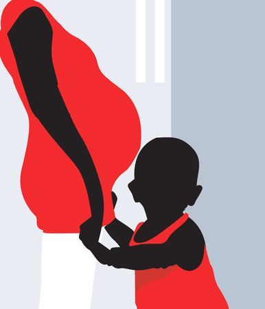 Illustration of silhouettes of a pregnant lady and child    Stock Photo