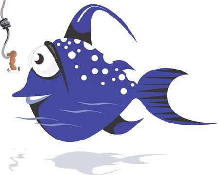 bluefish: Illustration of a blue colour fish aiming for the worm on hook