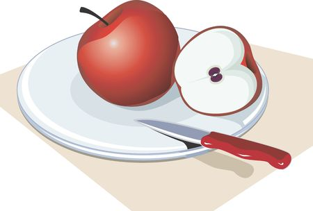 remains: Illustration of a sliced apple and knife in a table