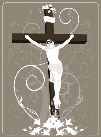 wooden cross: Illustration of Jesus Christ in cross in floral background
