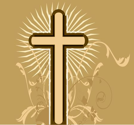 crucification: Illustration of a cross in floral background  Stock Photo