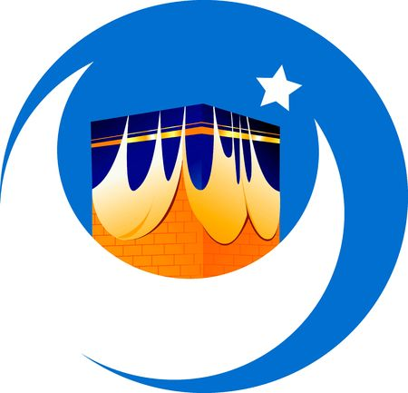 Illustration of mosque, star and noon in blue background