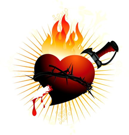 crucification: Illustration of heart, crown of thorns and sword  Stock Photo
