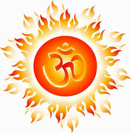 indian god: Illustration of Om in decorated flame
