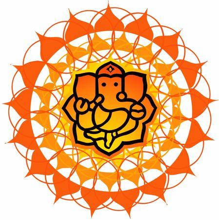ganesh: Ilustraci�n de Lord Ganesh floral a fondo
