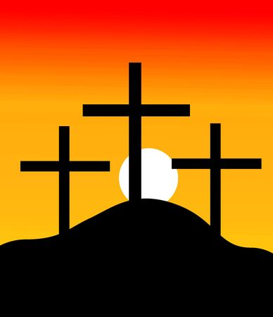 Illustration of crosses in a hill in sunset  illustration