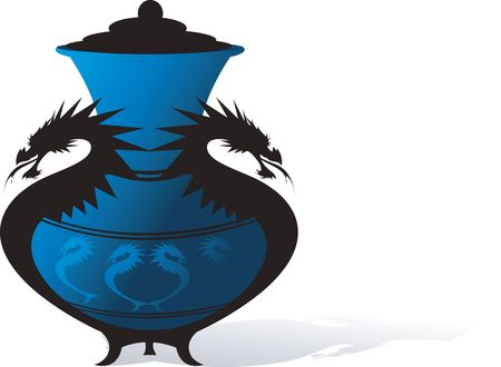 Illustration of a Chinese pot decorated with dragon frame  illustration