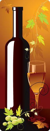 Illustration of wine bottle and goblet in floral background Stock Illustration - 2892953