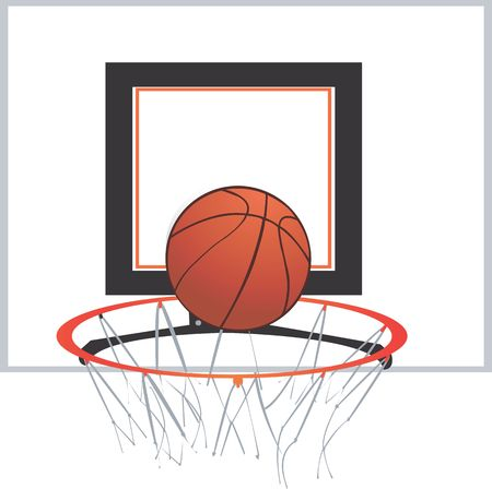 A basketball is about to go through the net  photo