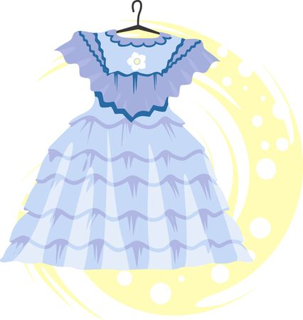 frock: Illustration of a blue coloured frock in a hanger  Stock Photo