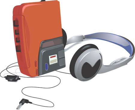 Illustration of a walkman and headset  Stock Photo