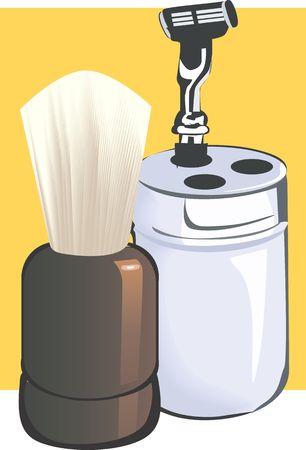 shaving: Illustration of a shaving razor and brush  Stock Photo