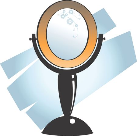 Illustration of a make up table mirror of round shape