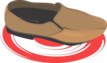 postmodern: Illustration of brown shoe on a white background.