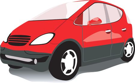 motorised: Illustration of a red car isolated