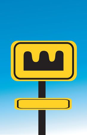 hump: Illustration of hump printed yellow sign board