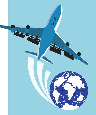 Illustration of an aeroplane in flying around globe