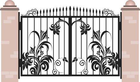 Illustration of decorated grilled wall gate  illustration