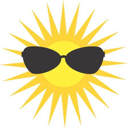 Illustration of a symbol of sun wearing a glass  illustration