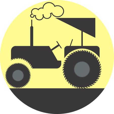 Illustration of a symbol of tractor in blue background  illustration