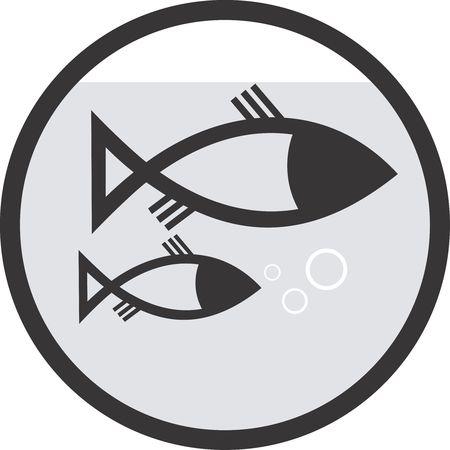 logo poisson: Illustration d'un symbole de deux poissons dans un cercle Banque d'images