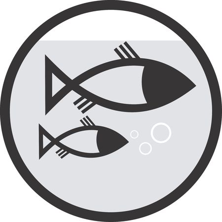 fish farm: Illustration of symbol of two fishes in a circle