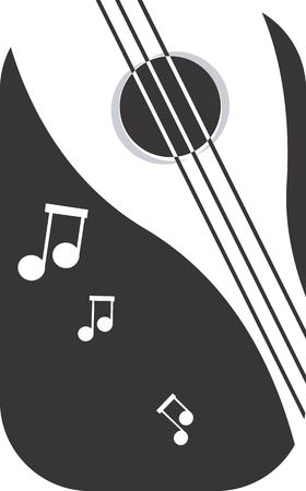 mandolin: Illustration of a symbol of violin and music notes