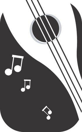 mandolino: Illustrazione di un simbolo di violino e note musicali