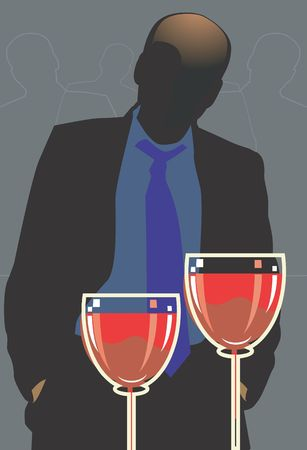 man standing alone: Silhouette of man standing  alone in a party  with drink in table