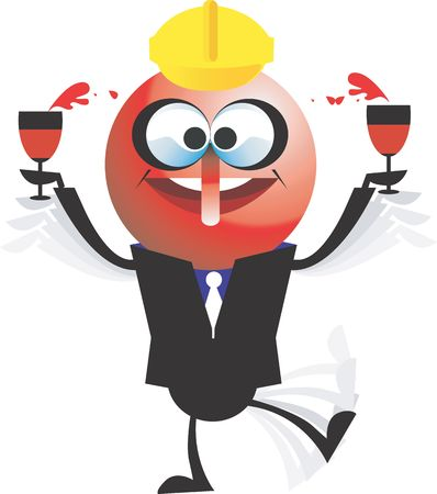 A cartoon character holding wine filled goblets in his hand Stock Photo - 2908961