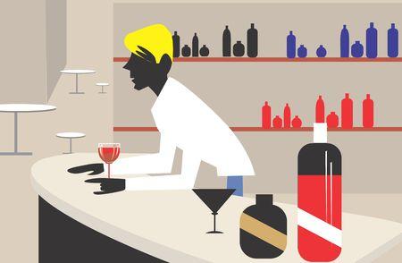 A man standing near a bar counter Stock Photo - 2908951