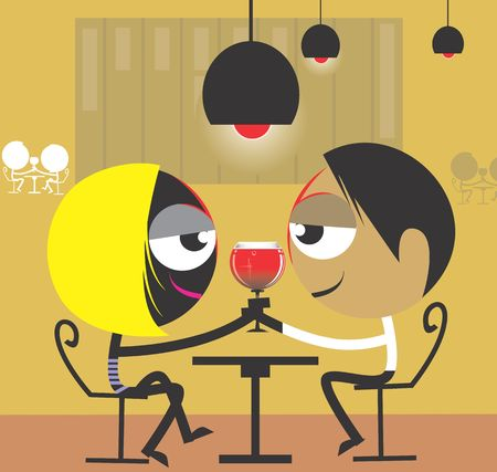 Silhouette of cartoon couple having drinks  photo