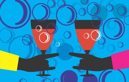 Two hands holding wine filled goblets Stock Photo - 2909016