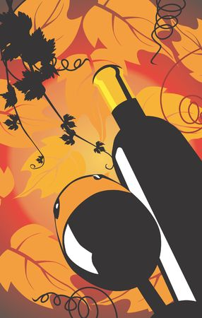Illustration of wine bottle and goblet in floral background Stock Illustration - 2911614