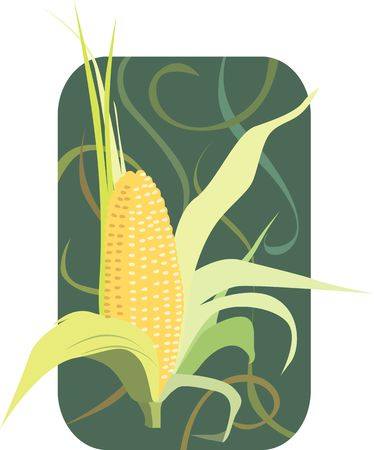 Illustration of maize with petals open in floral background