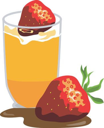 juicy: Illustration of strawberry and glass of orange juice