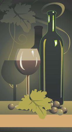 Illustration of wine bottle and goblet in floral background Stock Illustration - 2911562