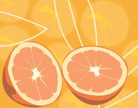 juicy: Illustration of slices of orange in orange background