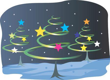 public celebratory event: Illustration of Christmas tree with shining stars  Stock Photo