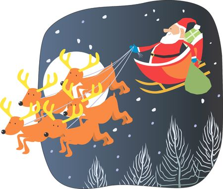 Santa clause taking a ride in a sledge on Christmas night  photo
