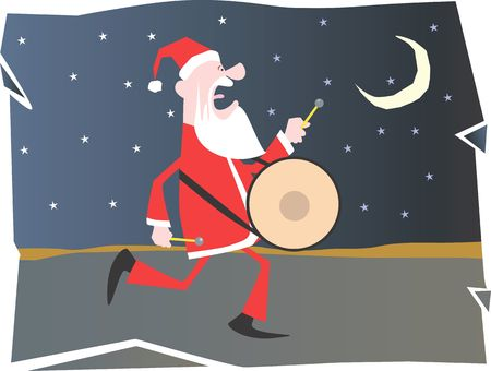 saint nicholas: Santa clause on carol and playing drum