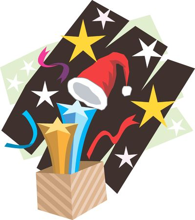 Santa clause Cap and stars are emerging out of a gift box Stock Photo - 2912781