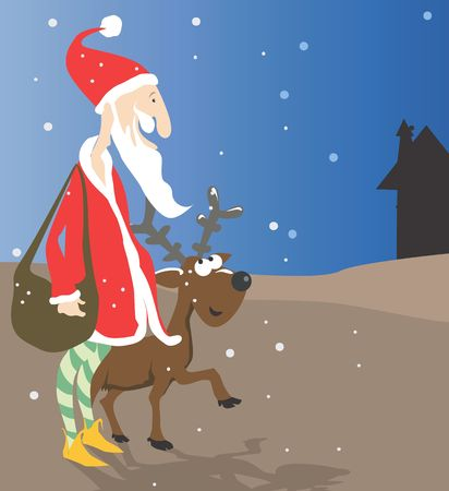 Santa clause walking with a deer at night Stock Photo - 2912766