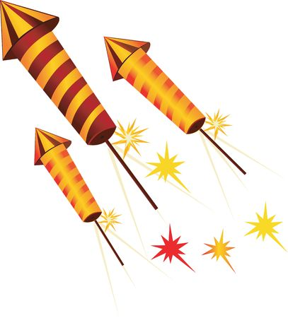 Illustration of fire crackers in rocket shape  Stock Photo