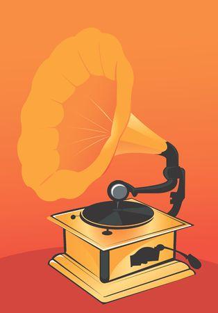 radiant light: Illustration of a gramophone in radiant light