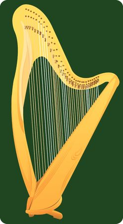 Illustration of a wooden harp in green background