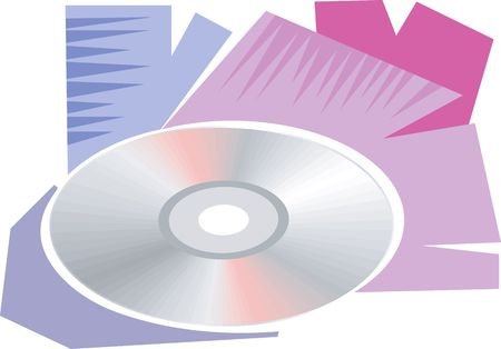 compact disc: Illustration of a compact disc with colours behind  Stock Photo